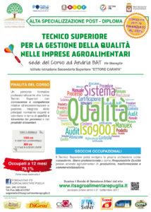 """Corso ITS """"Tecnico Superiore per la Gestione della Qualità nelle imprese agroalimentari"""""""