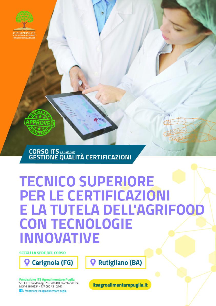 Tecnico Superiore per le Certificazioni e la Tutela dell'Agrifood con Tecnologie Innovative